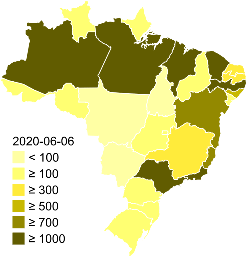 6 - Mapa del coronavirus de Brasil. Camilo C. Branco. 29/01/2020 (actualizado a 0606/2020). CC BY-SA 3.0. https://es.m.wikipedia.org/wiki/Archivo:Coronavirus_Brazil_map.svg