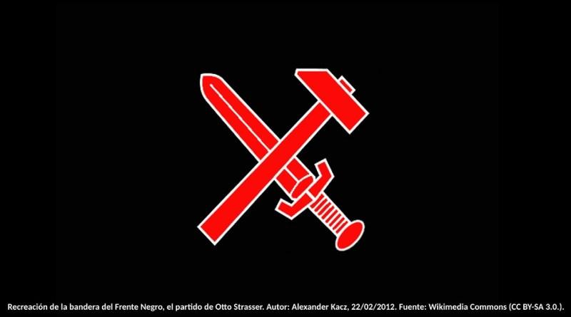 Recreación de la bandera del Frente Negro, el partido de Otto Strasser. Autor: Alexander Kacz, 22/02/2012. Fuente: Wikimedia Commons (CC BY-SA 3.0.).