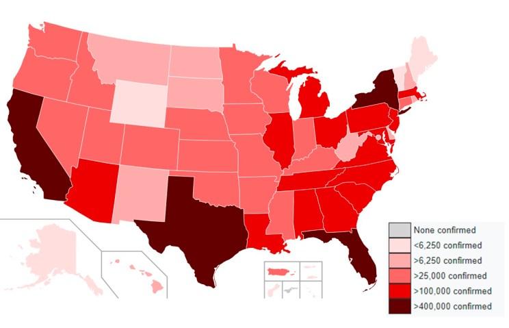 Casos de Covid19 en los EEUU a 25 de Agosto de 2020. Autor: Pharexia, 25/8/2020. Fuente: Wikipedia, licencia CC BY SA 4.0
