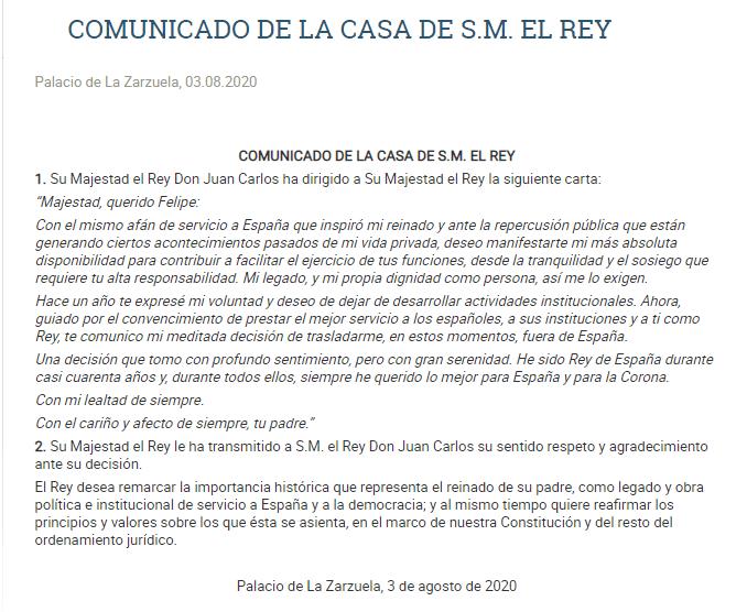 Comunicado de la Casa de su Majestad el Rey. Autor: Palacio de la Zarzuela Fecha: 3/08/2020. Fuente: Casareal.es