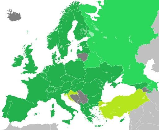 Partido de los verdes europeos, países con miembros y candidatos. Autor: Hmxhmx. Fecha: 15/10/2016. Fuente: Wikipedia
