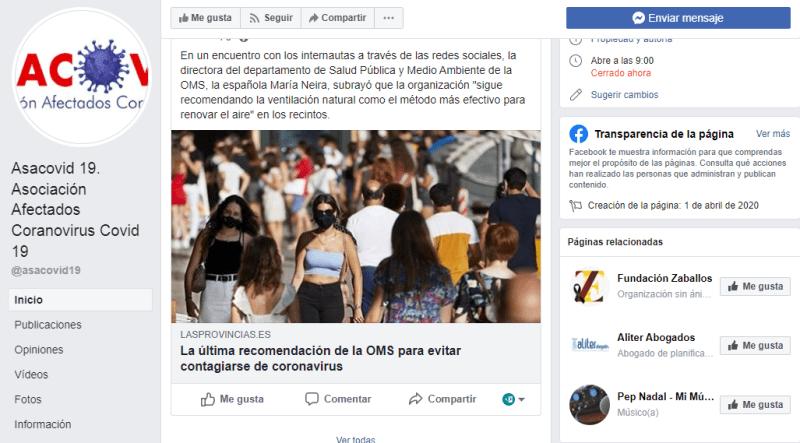 ¿Quién hay tras las asociaciones españolas de víctimas del coronavirus? Captura de pantalla con búsqueda de facebook donde el motor de búsqueda relaciona Asacovid con Aliter abogados. Autor: captura de pantalla realizada el 29/09/2020 a las 05:00. Fuente: Facebook,  cuenta de Asacovid19
