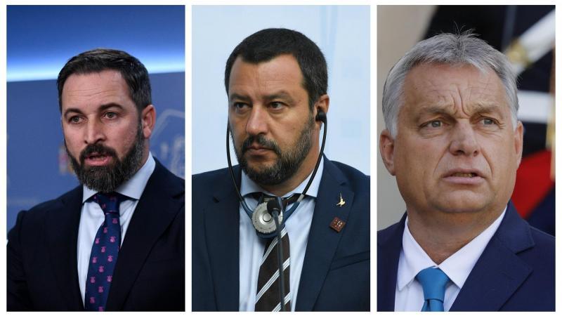 De izquierda a derecha: Santiago Abascal (VOX), Matteo Salvini (La Liga) y Viktor Orbán (Fesdz y presidente de Hungría). Fuente: elPlural.