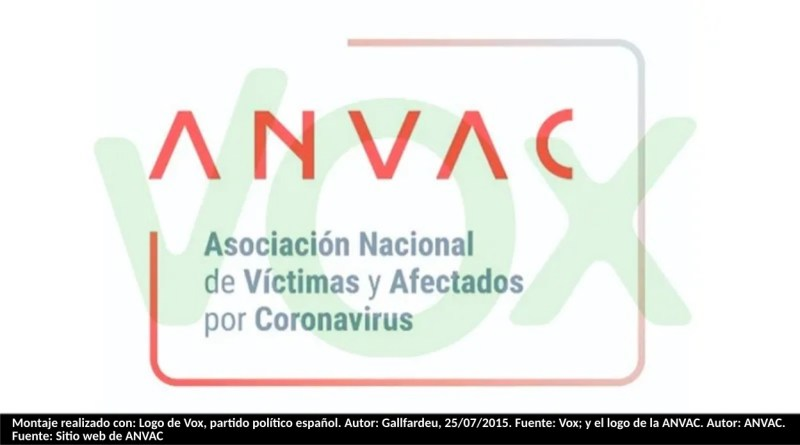 Montaje realizado con: Logo de Vox, partido político español. Autor: Gallfardeu, 25/07/2015. Fuente: Vox; y el logo de la ANVAC. Autor: ANVAC. Fuente: Sitio web de ANVAC