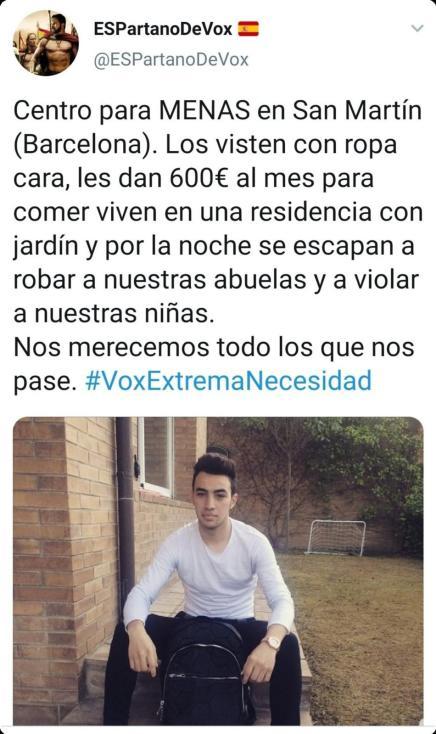 Recopilación de bulos de la extrema derecha española de septiembre. Bulo transmitido por la cuenta Espartano de Vox que fue borrado y recorre internet.