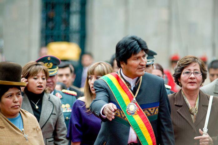 Evo Morales como presidente de Bolivia. Autor: Joel Álvarez, 2008, paraWikimedia Commons.