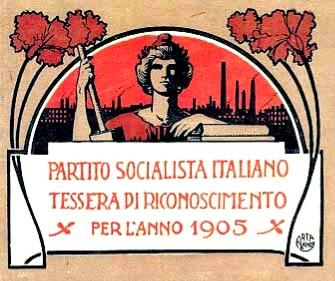 Carnet del Partido Socialista Italiano en 1905.