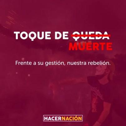 Cartel de Toque de Queda. Autor: Hacer Nación. Fuente: Facebook