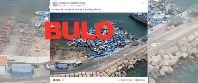 Bulo adjudicando una foto de Italia en Canarias sobre la llegada de pateras. Autor: captura de pantalla hecha el 06/11/2020, a las 15:30. Fuente: maldita.es