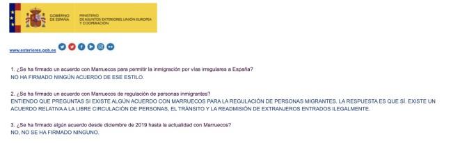 Respuestas del Ministerio de Exteriores sobre el bulo del acuerdo de Marruecos. Autor: captura de pantalla hecha el 06/11/2020 a las 14:18. Fuente: Maldita.es