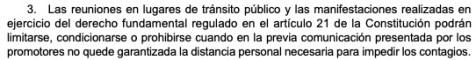 Decreto del estado de alarma de 25 de octubre donde se habla de las manifestaciones. Fuente: BOE
