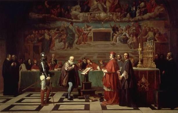 Galileo Galilei antes del Santo Oficio por la Inquisición. Autor: Joseph Nicolas Fleury, siglo XIX. Fuente: library.thinkquest.org