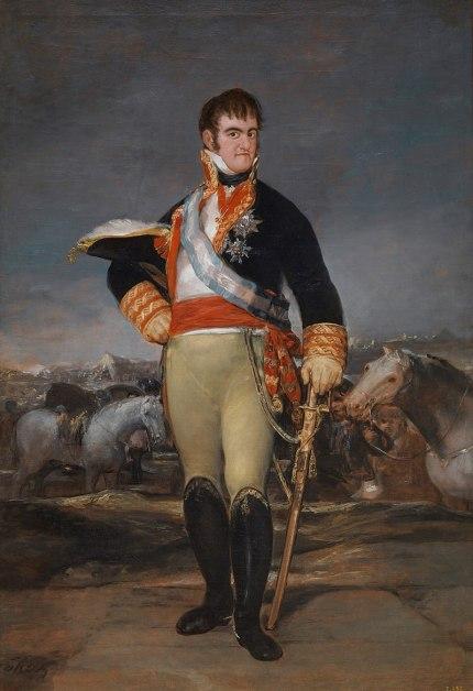 Fernando VII en el campo, rey de España que recuperó los privilegios de la religión católica y la nobleza. Autor: Francisco Goya, 1815. Fuente: Museo del Prado