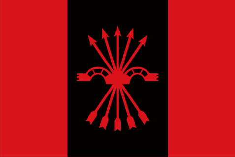Bandera de la Falange Española de las JONS. Autor: Oren neu dag, 18/11/2017. Fuente: Wikimedia Commons.
