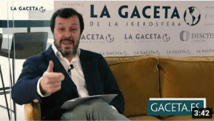 Presentación de José Antonio Fuster para La Gaceta de la Iberosfera, extendiendo la sombra de Vox. Autor: Captura de pantalla realizada el 23/12/2020 a las 10:26h. Fuente: YouTube (La Gaceta de la Iberosfera).