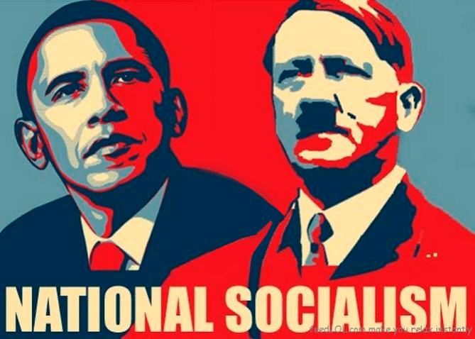 Principios. Cartel que compara al ex-presidente de EEUU Barack Obama con el dictador Adolf Hitler. Autor: Desconocido. Fuente: Nortedigital.mx