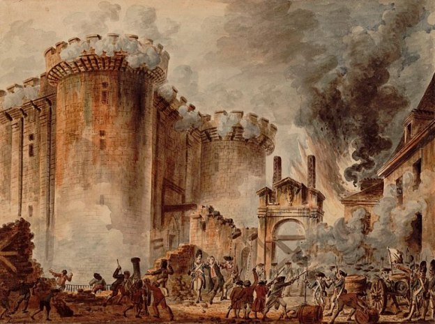 La toma de la Bastilla, uno de los momentos más importantes de la Revolución Francesa. Autor: jean-Pierre HouËl, 1789. Fuente:Biblioteca Nacional Francesa.