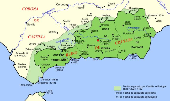 Reino de Granada. Autor: Tyk basado en Image:Iberian Peninsula base map.svg creado por Redtony, 2007. Fuente: Wikimedia Commons (CC BY-SA 3.0.)