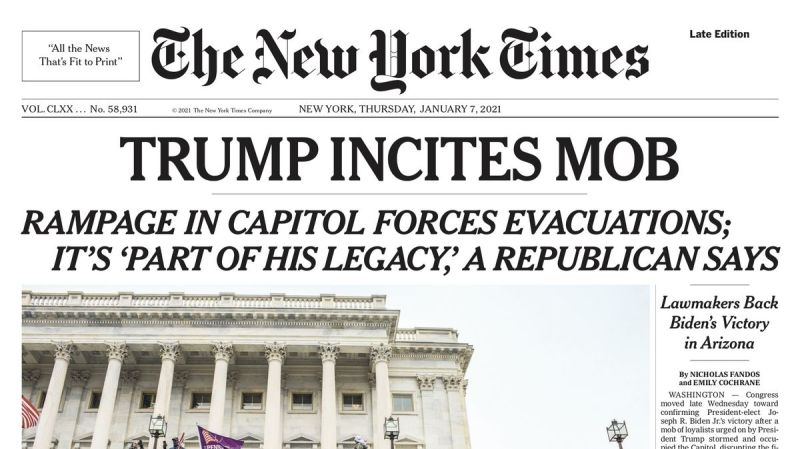 Portada de The New York Times el 7 de enero de 2021. Autor: Captura de pantalla el 12/01/2020 a las 11:35h. Fuente. The New York Times