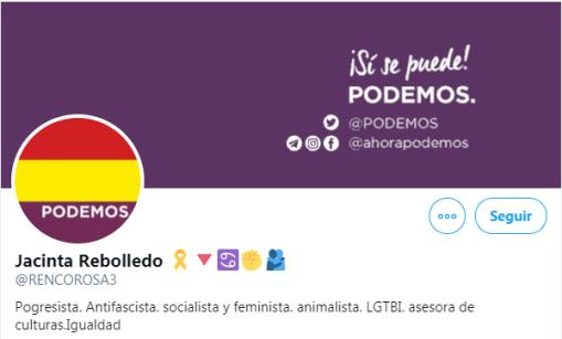 Captura de la portada del perfil fake Jacinta Rebollero. Autor: captura de pantalla hecha el 05/01/2021 a las 16:17. Fuente: Twitter (@rencorosa3)