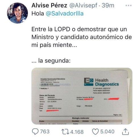 Tuit ya borrado de Alvise Pérez donde difundía el documento falsificado