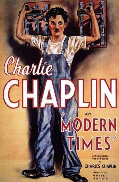 Cartel promocional en 1936 de la película de Chaplin Tiempos Modernos