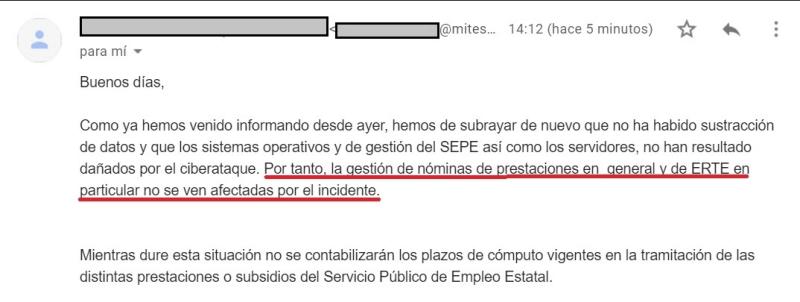 Respuesta del Ministerio de Trabajo y Economía Social sobre el hackeo del SEPE. A Maldita.es. Autor: Maldita.es. Fuente: Maldita.es(CC BY-SA 3.0 ES).
