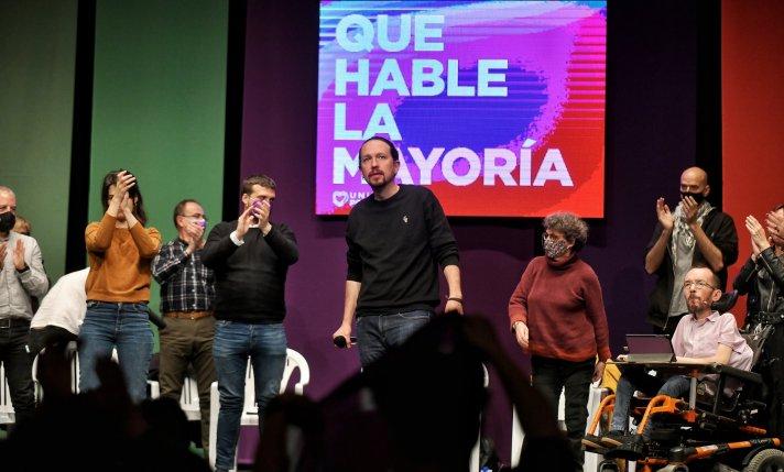 Acto de campaña de Pablo Iglesias y Pablo Echenique. Autor: Dani Gago, 29/04/2021. Fuente: Twitter (@DaniGagoPhoto), imagen cedida para su uso en Al Descubierto.