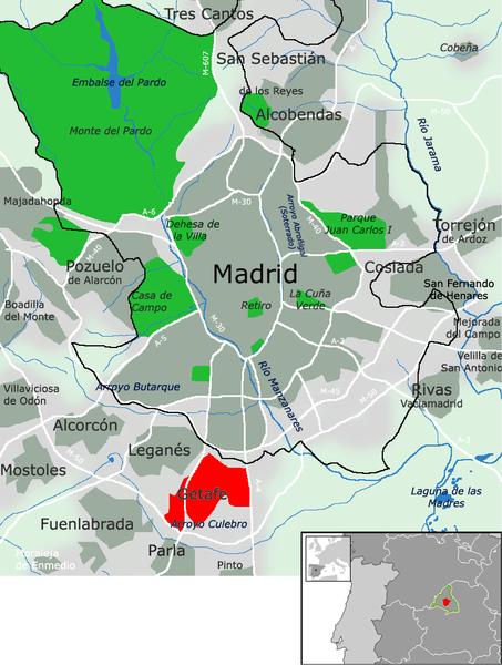 Mapa de Getafe en el área metropolitana de Madrid (España). Autor: Miguel303xm, 14/06/2007. Fuente: Wikimedia Commons (CC BY-SA 2.5)