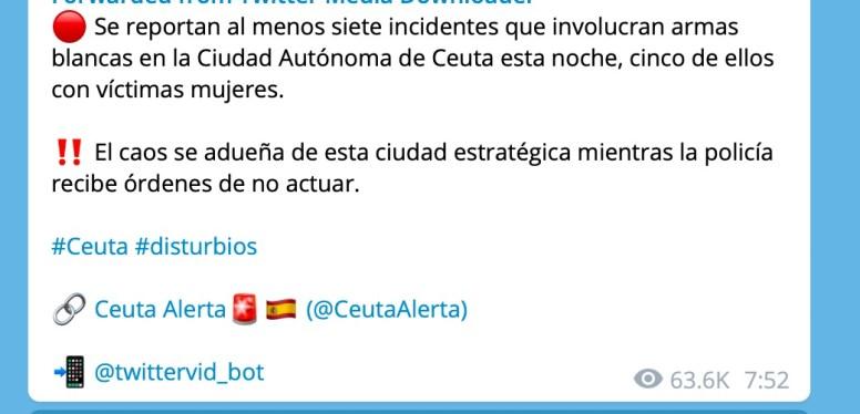Mensaje de @CeutaAlerta. Autor: Captura de pantalla realizada el 09/06/2021, a las 18:00h. Fuente: Maldita.es (CC BY-SA 3.0 ES)