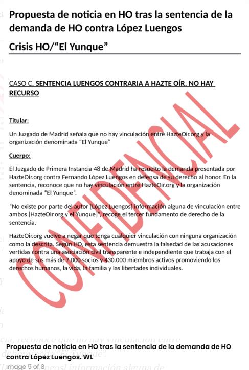 Propuesta de noticia en HO tras la sentencia de la demanda de HO contra López Luengo. Autor: Hazte Oír. Fuente: WikiLeaks.
