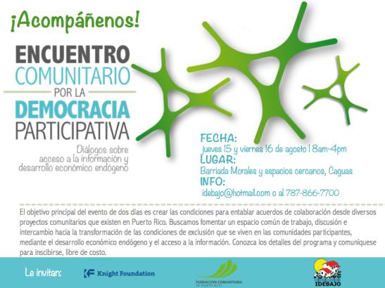 Organizan Encuentro Comunitario por la Democracia Participativa