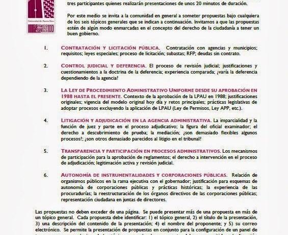 Convocatoria Derecho UPR: Congreso de Derecho Administrativo 2014