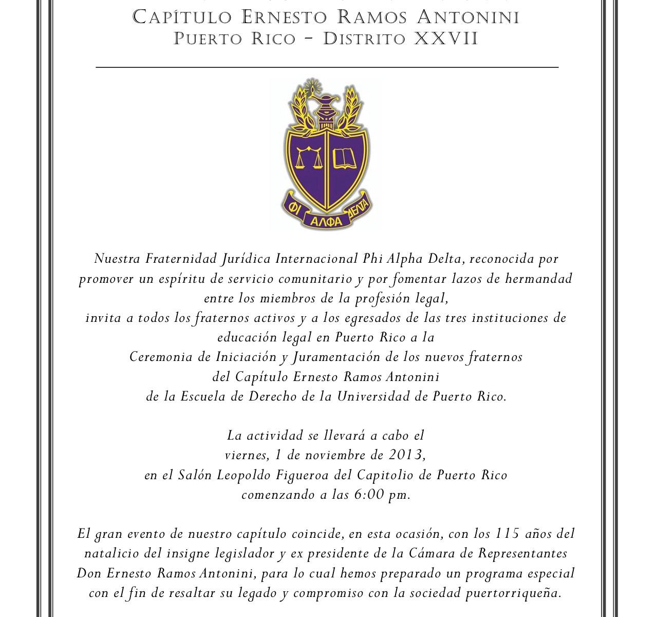 Iniciación y juramentación de nuevos fraternos Phi Alpha Delta en Derecho UPR