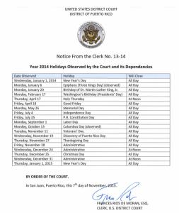 Días feriados 2014 del Tribunal Federal para el Distrito de Puerto Rico