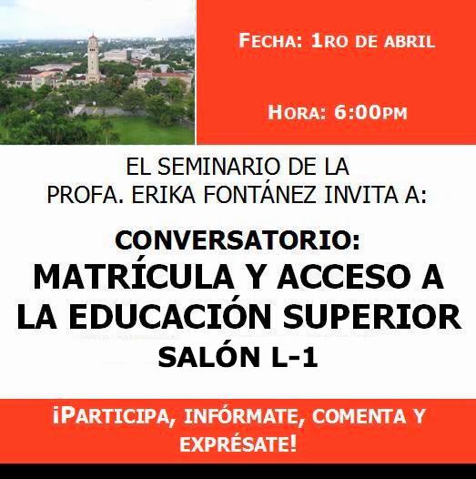 Matrícula y el acceso a la educación superior en Puerto Rico