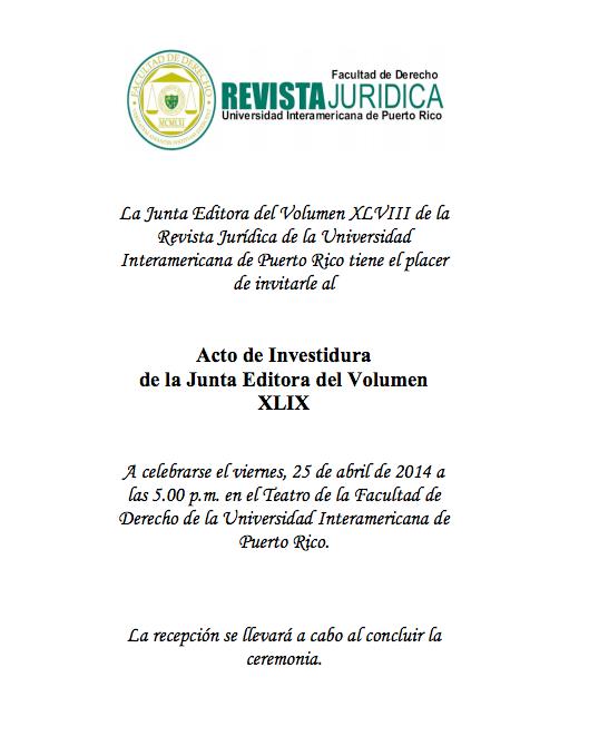 Inter Derecho: Acto de Investidura de la nueva Junta Editora de la Revista Jurídica