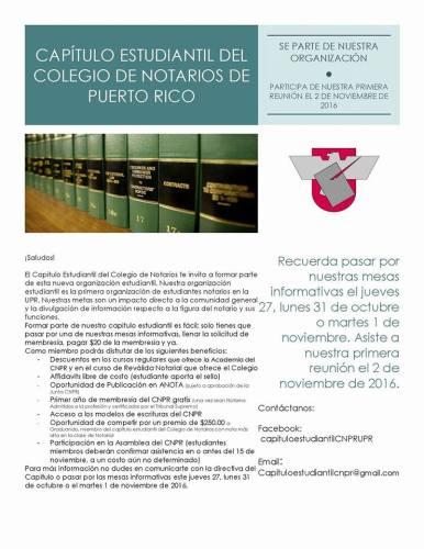 Capítulo estudiantil del Colegio de Notarios de Puerto Rico recluta estudiantes