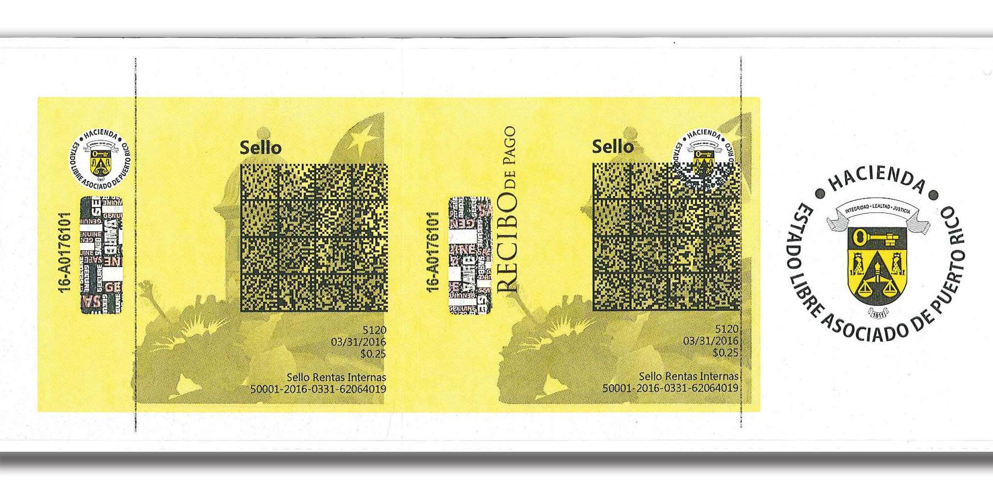 sellos de Rentas Internas del Departamento de Hacienda