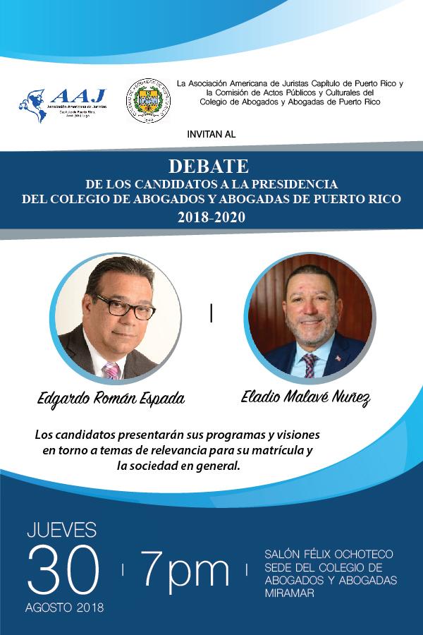 Debate entre los candidatos a la presidencia del Colegio de Abogados y Abogadas de Puerto Rico