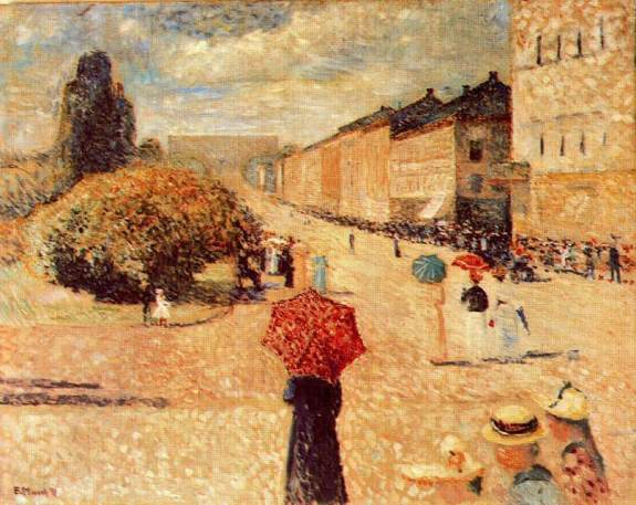 Edvard Munch - Spring Day on Karl Johan Street, 1890