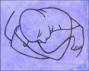 Felice Casorati - incisione su fondo celeste