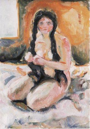 Edvard Munch - Femme-agenouillee-knelende-kvinne-kneeling-woman-1913