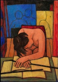 Felice Casorati - Fanciulla addormentata nello studio, 1959