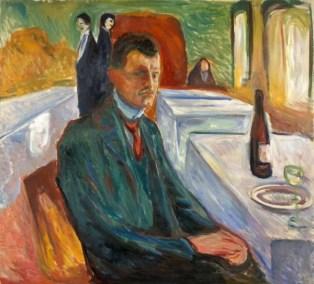 Edvard Munch - Autoritratto a Weimar con bottiglia di vino