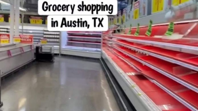 Footage emerges of supermarket shelves stripped bare amid freezing polar storm in Texas
