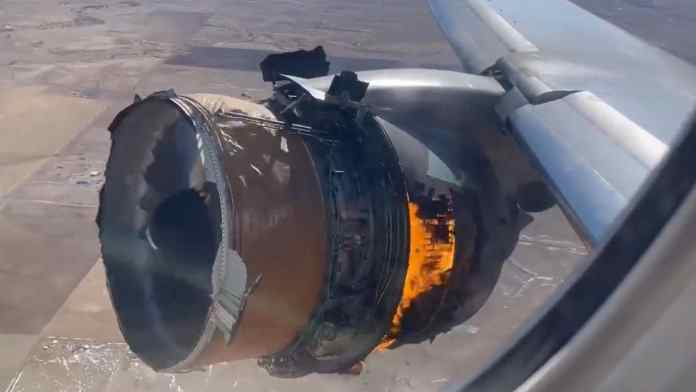 Passenger films engine catching on fire
