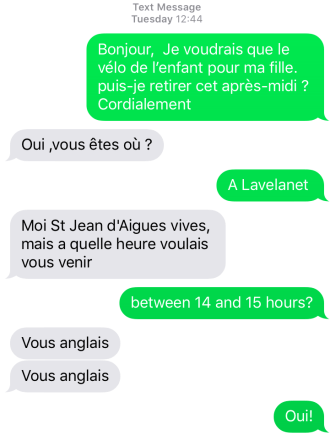 A screenshot of an SMS message between me and the seller.