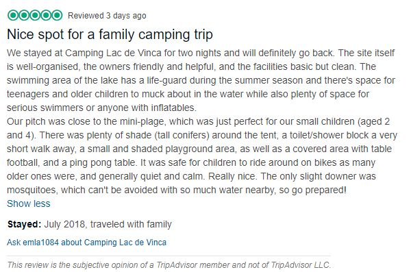 """A screenshot of a 5-star review with the title """"Nice spot for a family camping trip"""""""