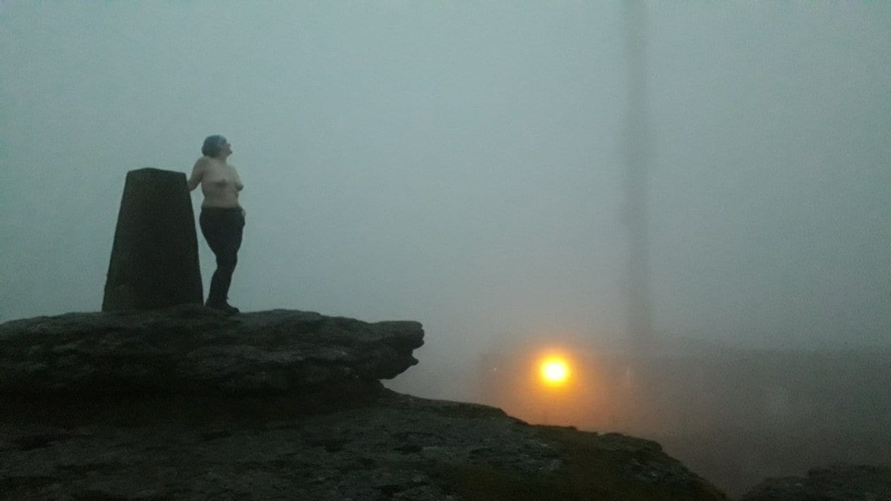 Naked lady on top of North Hessary Tor for #Boobday Transmission.